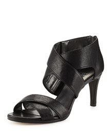 HugMe Leather Crisscross Sandal, Black