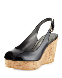 Jean Patent Leather Peep-Toe Wedge, Black