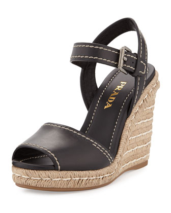 Leather Ankle-Wrap Rope Wedge Espadrille, Black (Nero)