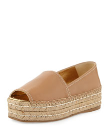 Napa Leather Platform Espadrille, Naturale