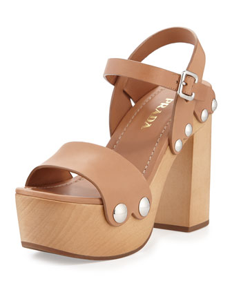 Leather Ankle-Wrap Sandal Clog, Naturale