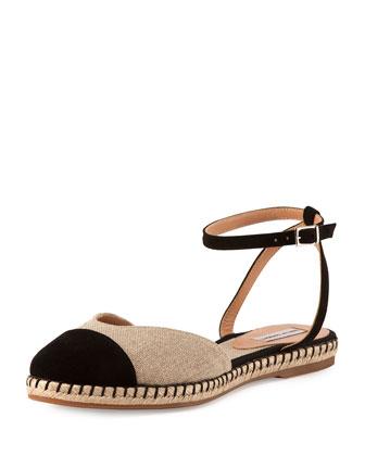 Sebille Ankle-Wrap Espadrille Flat, Natural/Black