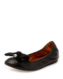 Pearly-Bead Leather Ballerina Flat, Black
