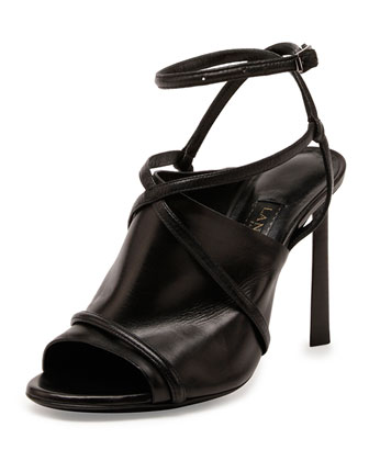 Leather Crisscross Glove Sandal, Black