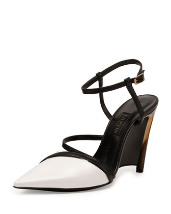 Leather Wedge Pump, White/Black