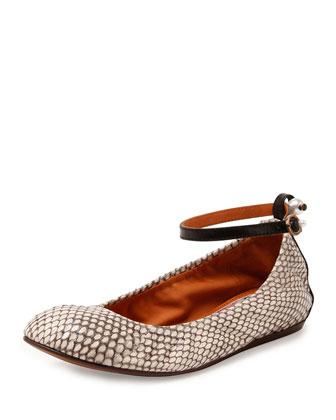 Ankle-Wrap Snakeskin Ballerina Flat