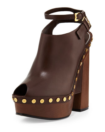Calfskin Platform Clog Sandal, Caramel