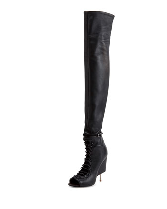 Open-Toe Stiletto-Wedge Over-the-Knee Boot