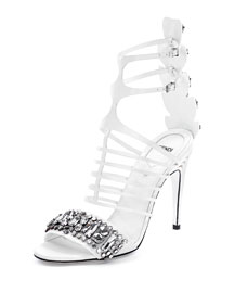 Jeweled Leather Cage Sandal, White