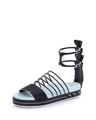 Leather Flat Cage Sandal, Black