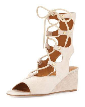 Suede Gladiator Wedge Sandal, Cream Puff