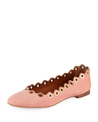 Wavy Rivet Leather Ballerina Flat, Beige Rose