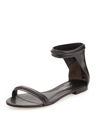 Martini Flat Leather Sandal, Black