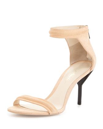 Martini Leather Mid-Heel Sandal, Peach