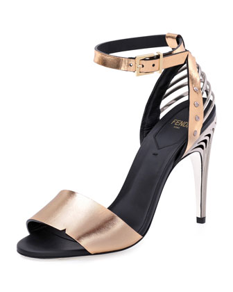 Metal-Back Metallic Heeled Sandal
