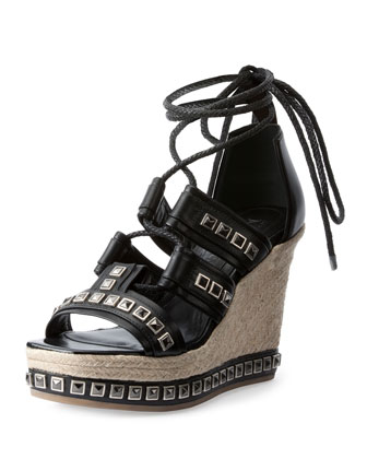 Studded Espadrille Wedge Sandal, Black