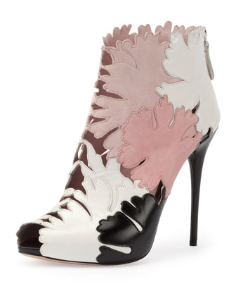 Leaf Cutout Open-Toe Ankle Boot, Multi Colors