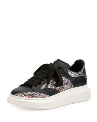Glitter Combo Leather Sneaker, Black