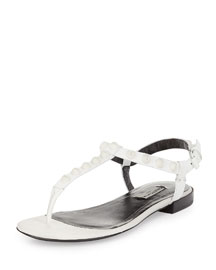 Studded Leather Flat Sandal, White