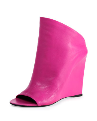 Open-Toe Lambskin Wedge Slide, Rose Fuchsia