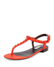 Studded Leather Thong Sandal, Red Poppy