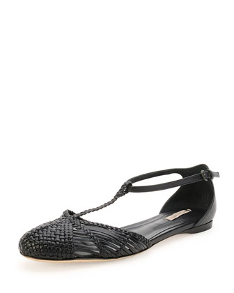 Woven Leather T-Strap Ballerina Flat, Prussian Blue