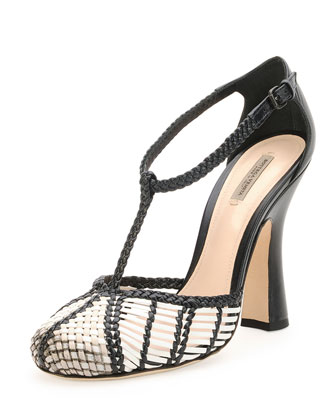 Woven Leather T-Strap Pump, Mist/Prusse
