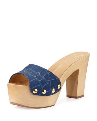 Croc-Embossed Leather Clog Sandal, Denim