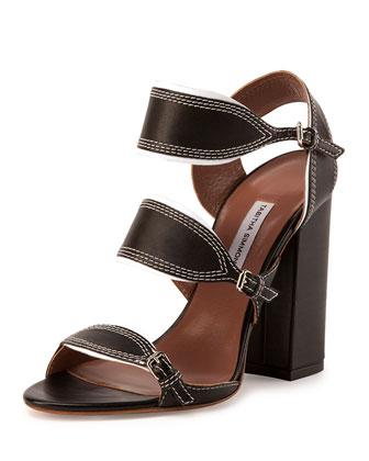 Leather Triple-Strap Sandal, Black