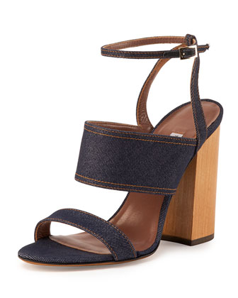 Stevie Denim Block-Heel Ankle-Wrap Sandal