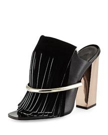 Leather Fringe Banded Mule, Black