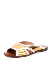 Metallic Leather Slide Sandal, Gold Sun