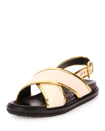 Crisscross Woven Flat Sandal, Pearl