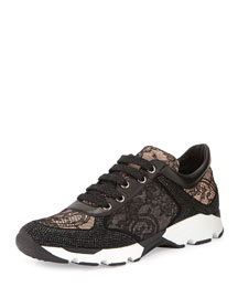 Strass Lace Sneaker, Black/Nude