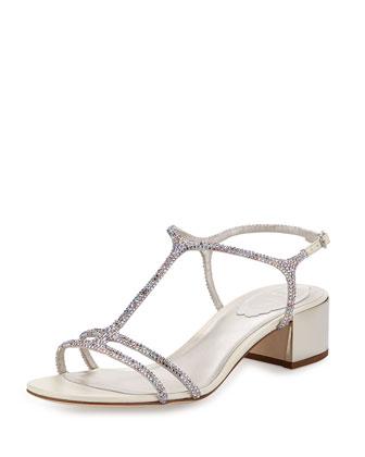 Crystal-Embellished Satin Chunky Heel Sandal, Silver