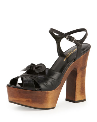 Candy Wooden Platform Sandal, Noir