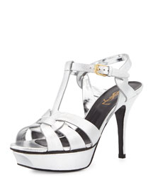 Tribute Metallic Leather Sandal, Platine