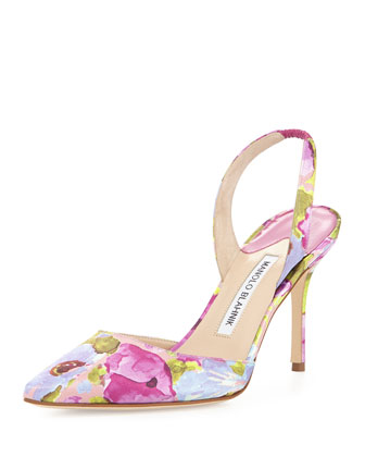 Carolyne Floral High-Heel Halter Pump, Multicolor