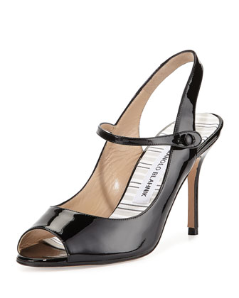 Tegna Patent Leather Open-Toe Mary Jane Slingback, Black