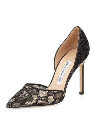 Tayler Lace & Fishnet d'Orsay Pump, Black