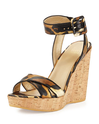 Annex Twill Wedge Sandal, Jaguar