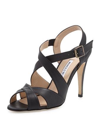 Etola Leather Crisscross Sandal, Black