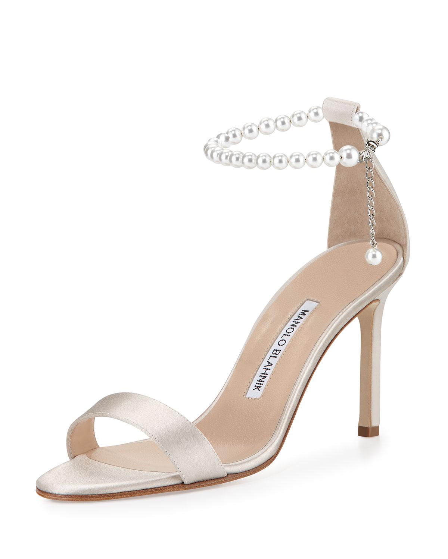 Manolo Blahnik Chaos Pearly Ankle-Wrap Sandal, , Size: 39.5B/9.5B Silver/Beige (Champagne)