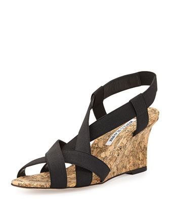 Lastiwe Strappy Elastic Cork-Wedge Sandal, Black