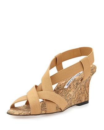 Lastiwe Strappy Elastic Cork-Wedge Sandal, Nude