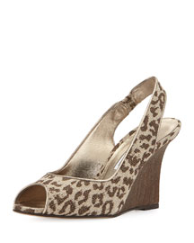 Panto Printed Linen Wedge Sandal, Leopard