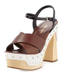 Colorblock Clog-Bottom Sandal, Radica/Talco