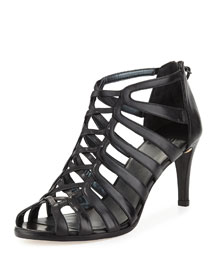 Exes Strappy Leather Mid-Heel Sandal, Black