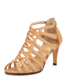 Exes Strappy Cage Leather Sandal, Pecan