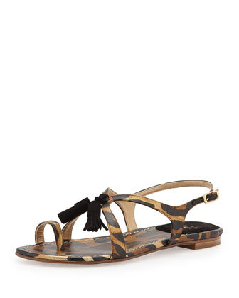Flapper Animal-Printed Sandal, Jaguar